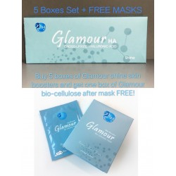 5 Boxes Glamour Shine Hyaluronic Acid Skin Boosters set + FREE MASKS